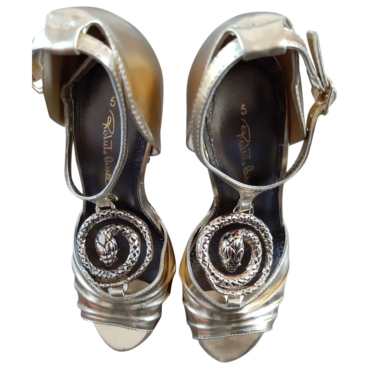 Roberto Cavalli \N Gold Leather Sandals for Women 35 IT