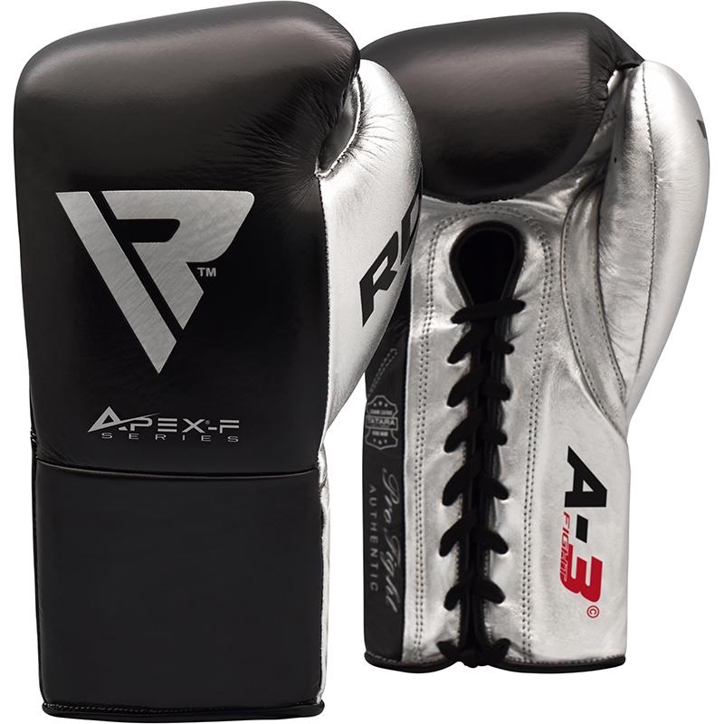 RDX A3 Wettkampf Boxhandschuhe Leder Zum Schnueren 8oz Schwarz/Silber