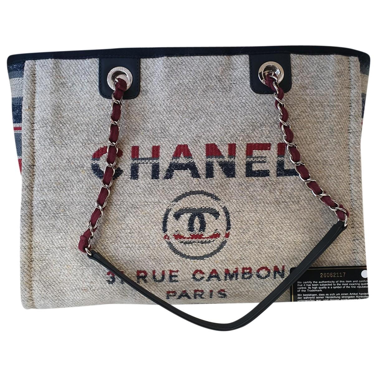 Chanel - Sac a main Deauville pour femme en toile - beige