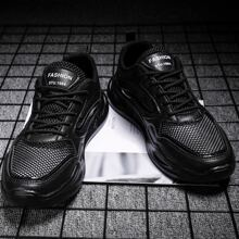 Men Lace-up Front Letter Graphic Sneakers