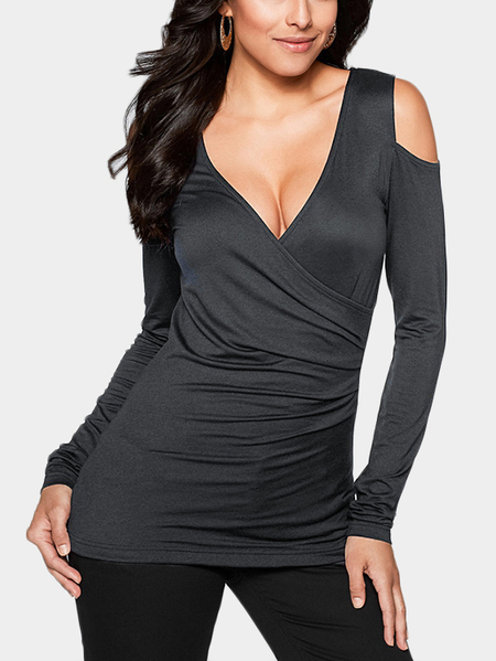 Yoins Grey T-shirt With Cold Shoulder