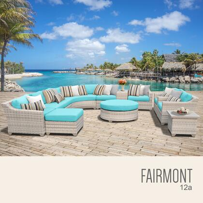 FAIRMONT-12a-ARUBA Fairmont 12 Piece Outdoor Wicker Patio Furniture Set 12a with 2 Covers: Beige and