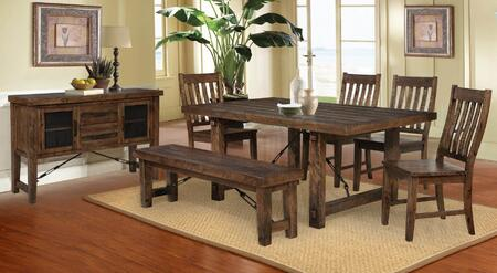 Tenrence Collection 82RL001-GROUP Dining Room 7 Piece Set with 4 Chairs  Bench  Table and Server in Lodge