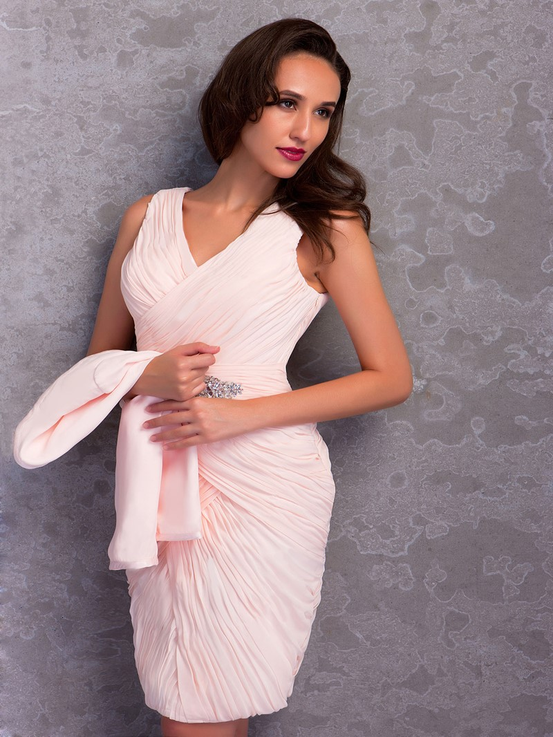 Ericdress Column V-Neck Short Mother of the Bride Dress With Jacket