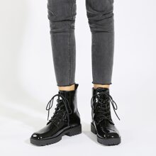 Square Toe Patent Leather Combat Boots