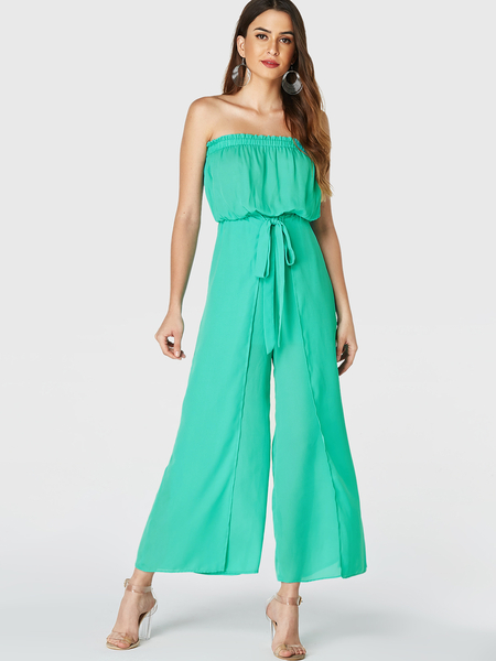 YOINS Green Lettuce-edge Strapless Self-tie Design Wide Leg Jumpsuit