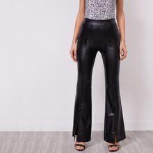 Split Hem Flare Leg PU Leather Pants