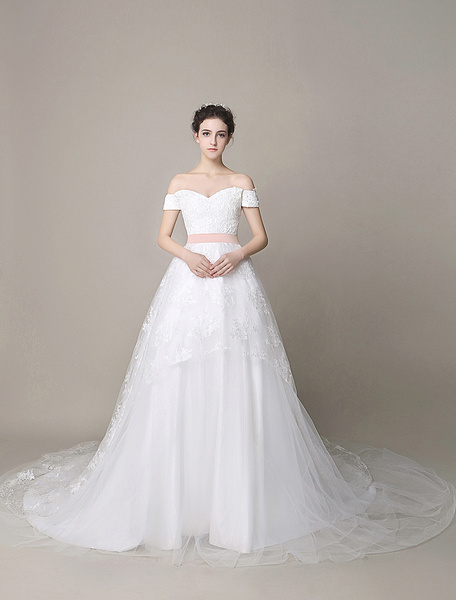 Milanoo Ivory Wedding Dress Off-The-Shoulder Bow Sash Backless Tulle Wedding Gown