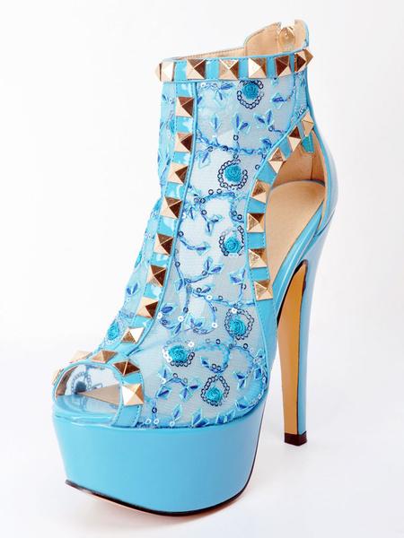Milanoo White Sexy Shoes High Heel Women's Platform Open Toe Rivets Cut Out Plus Size Shoes
