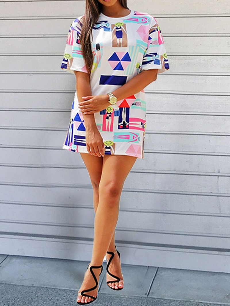 Ericdress Casual Above Knee Short Sleeve Print Geometric Dress
