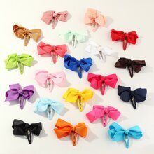 20pcs Toddler Girls Random Color Bow Knot Decor Hair Clip
