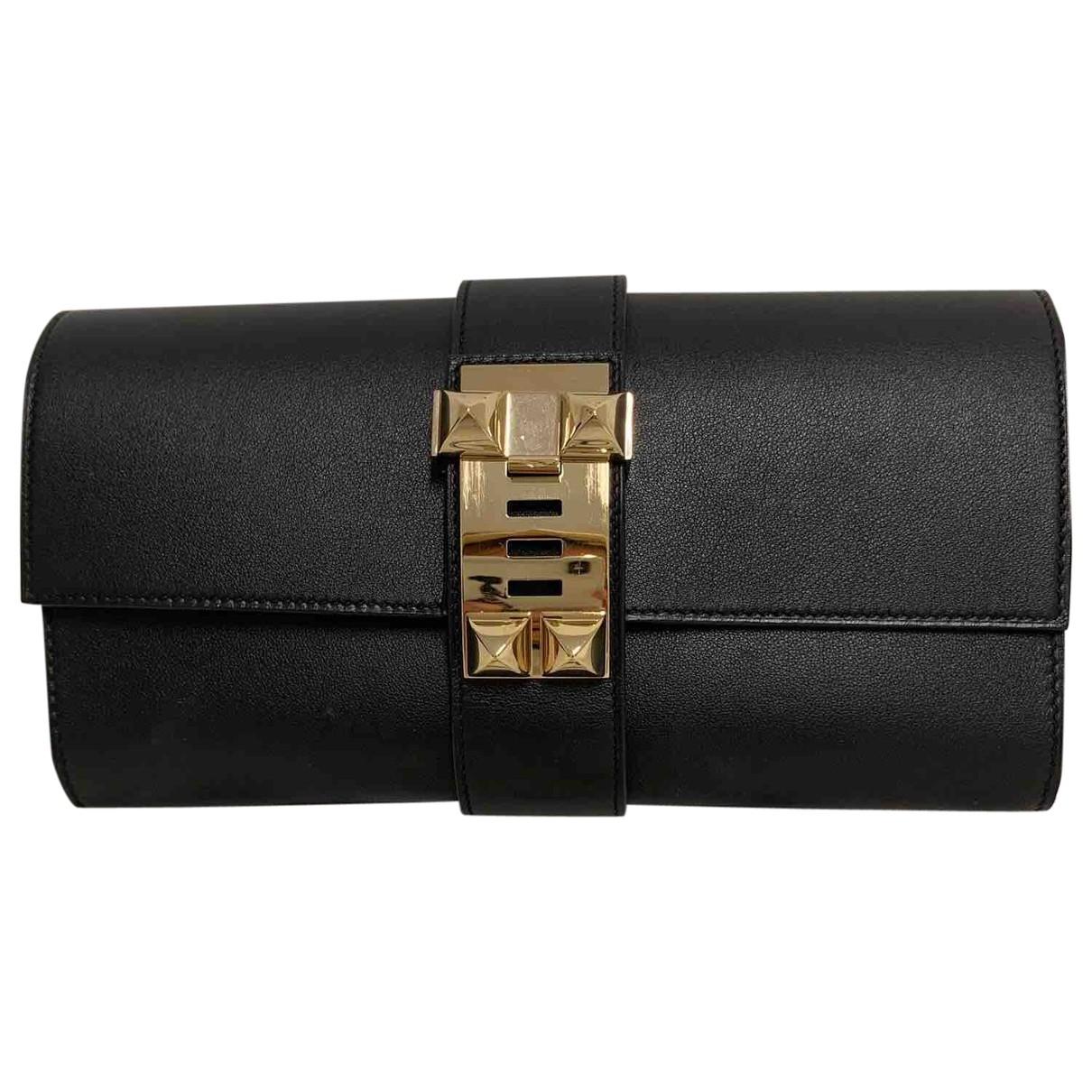 Hermes - Pochette Medor pour femme en cuir - noir