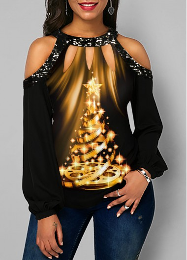 Christmas Rosewe Women Black Sequin Cold Shoulder Long Sleeve Fall T Shirt Xmas Tree Print Tunic Casual Top - M