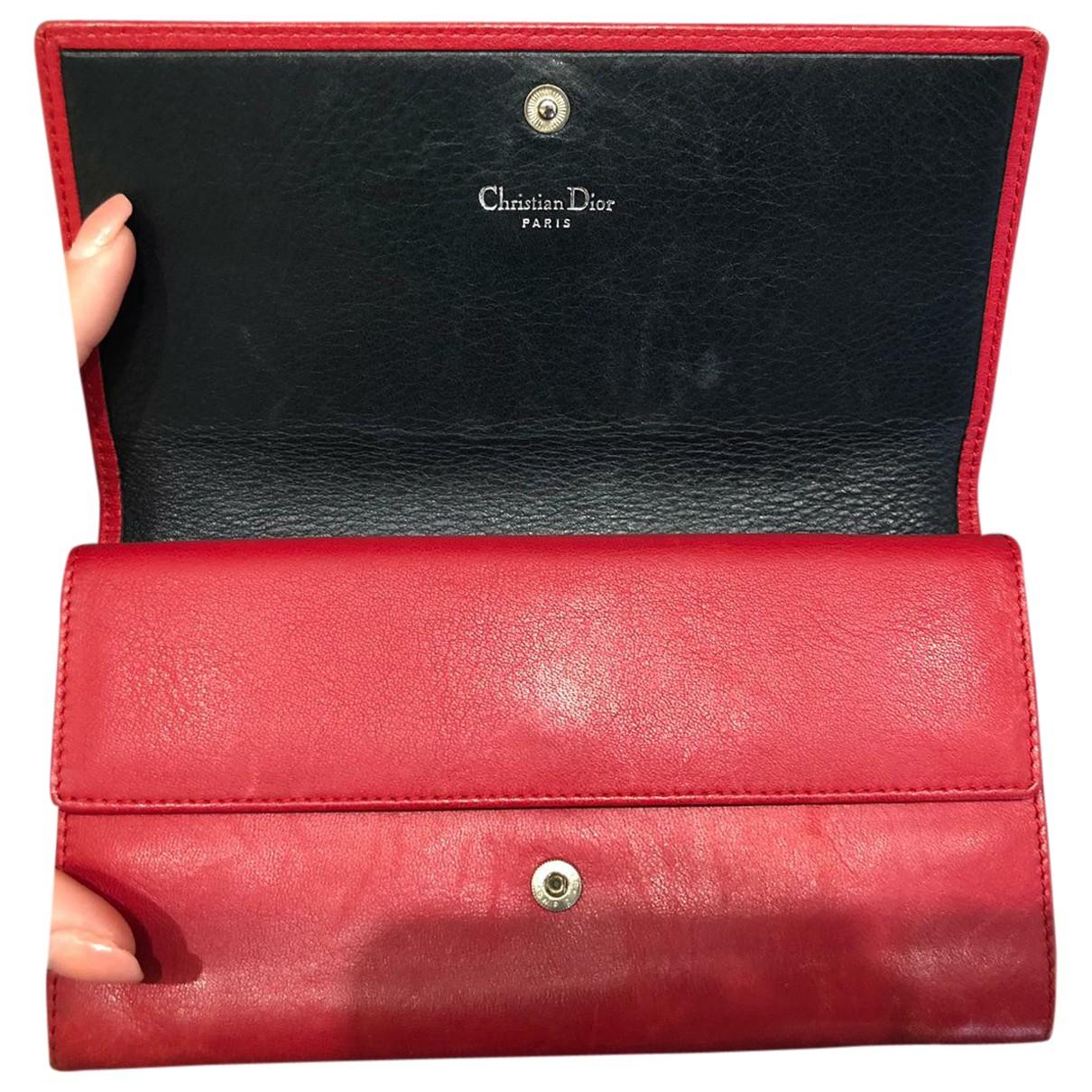 Christian Dior \N Portemonnaie in  Rot Leder