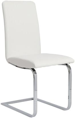 Murano Collection CB-A120-W Dining Side Chair with Sled Chrome Metal Base  Modern Style  High Backrest and Italian Eco-Leather Upholstery in White
