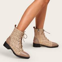 Tweed Square Toe Ankle Boots
