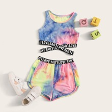 Girls Tie Dye Letter Tape Tank Top & Track Shorts Set