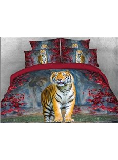 Tiger and Red Leaves Duvet Cover Set Animal Printed 4-Piece 3D Bedding Sets