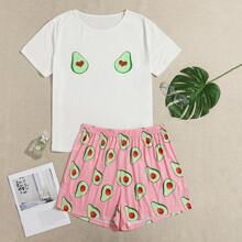 Schlafanzug Set mit Avocado Muster