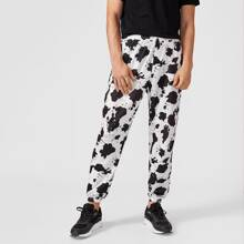 Men Drawstring Waist Cow Print Sweatpants
