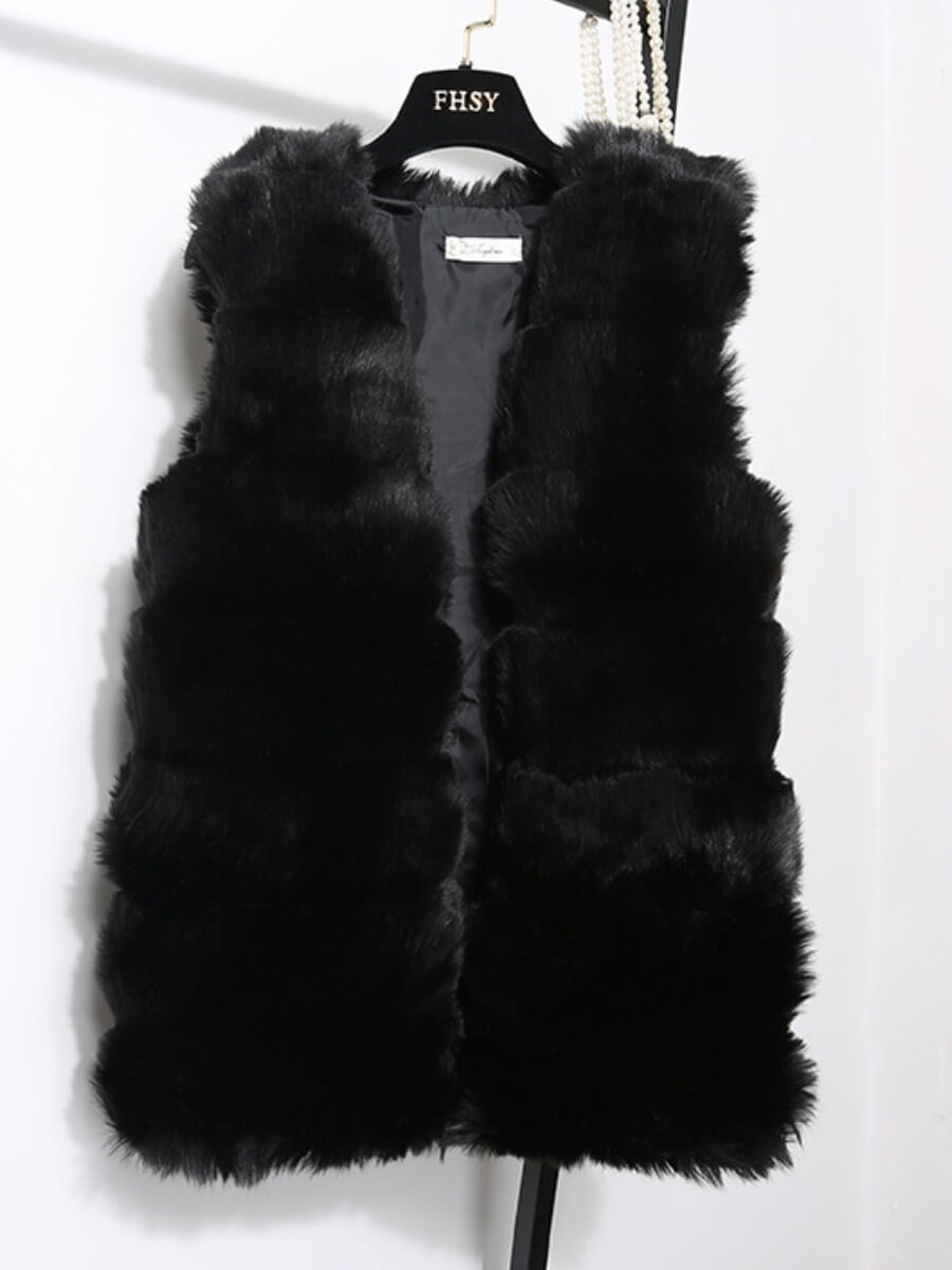 LW Lovely Casual Sleeveless Black Faux Fur
