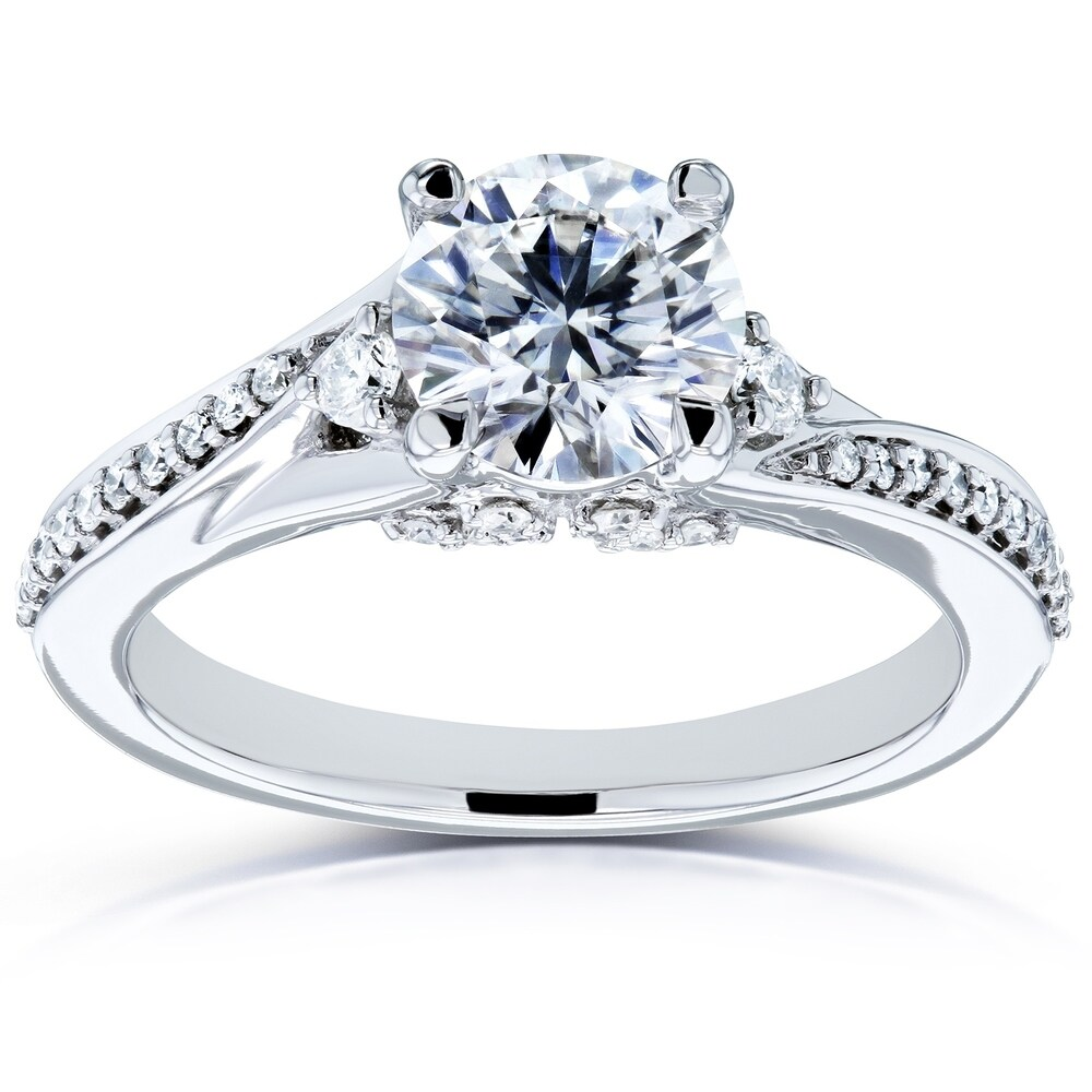 Annello by Kobelli 14k White Gold 1 1/4 Carat TGW Moissanite and Diamond Fancy Setting Bypass Engagement Ring, HI/VS, GH/I (5.5)