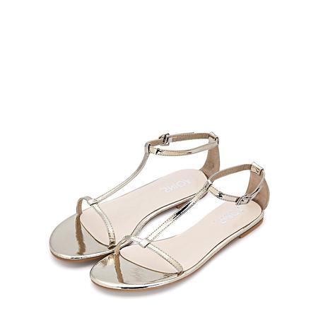 Yoins Gold T-bar Strap Flat Sole Simple Sandals