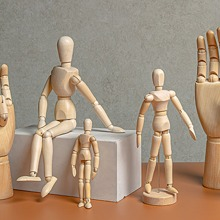 1 pieza marioneta humanoide con base de madera