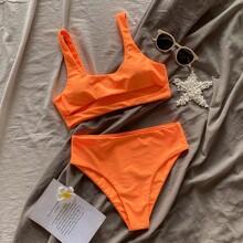 Cut-out High Waisted Bikini Swimsuit