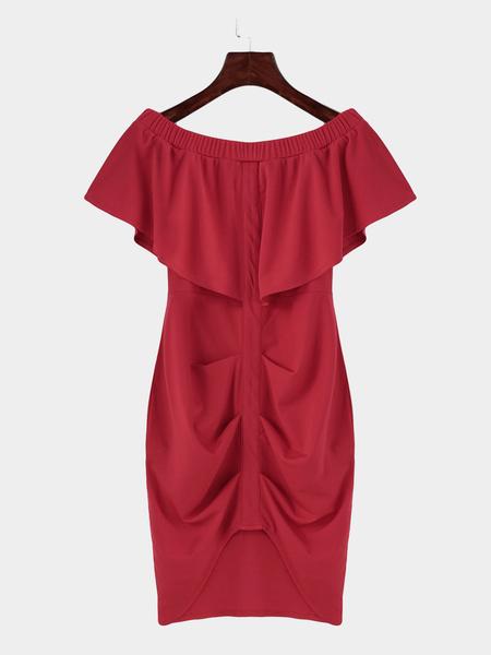 Yoins Red Off Shoulder Layered Split Bodycon Mini Dress