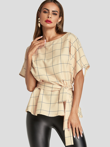 Yoins Beige Tie-up Design Grid Round Neck Blouse
