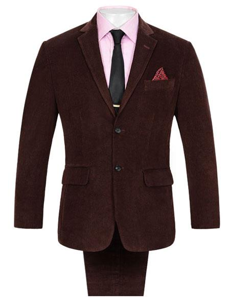 Mens 2 Buttons Single Breasted Corduroy Wine Suit Single Vent
