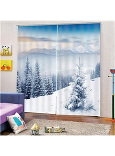 3D Snow Scenery Print Blackout Decorative Curtains for Living Room Bedroom