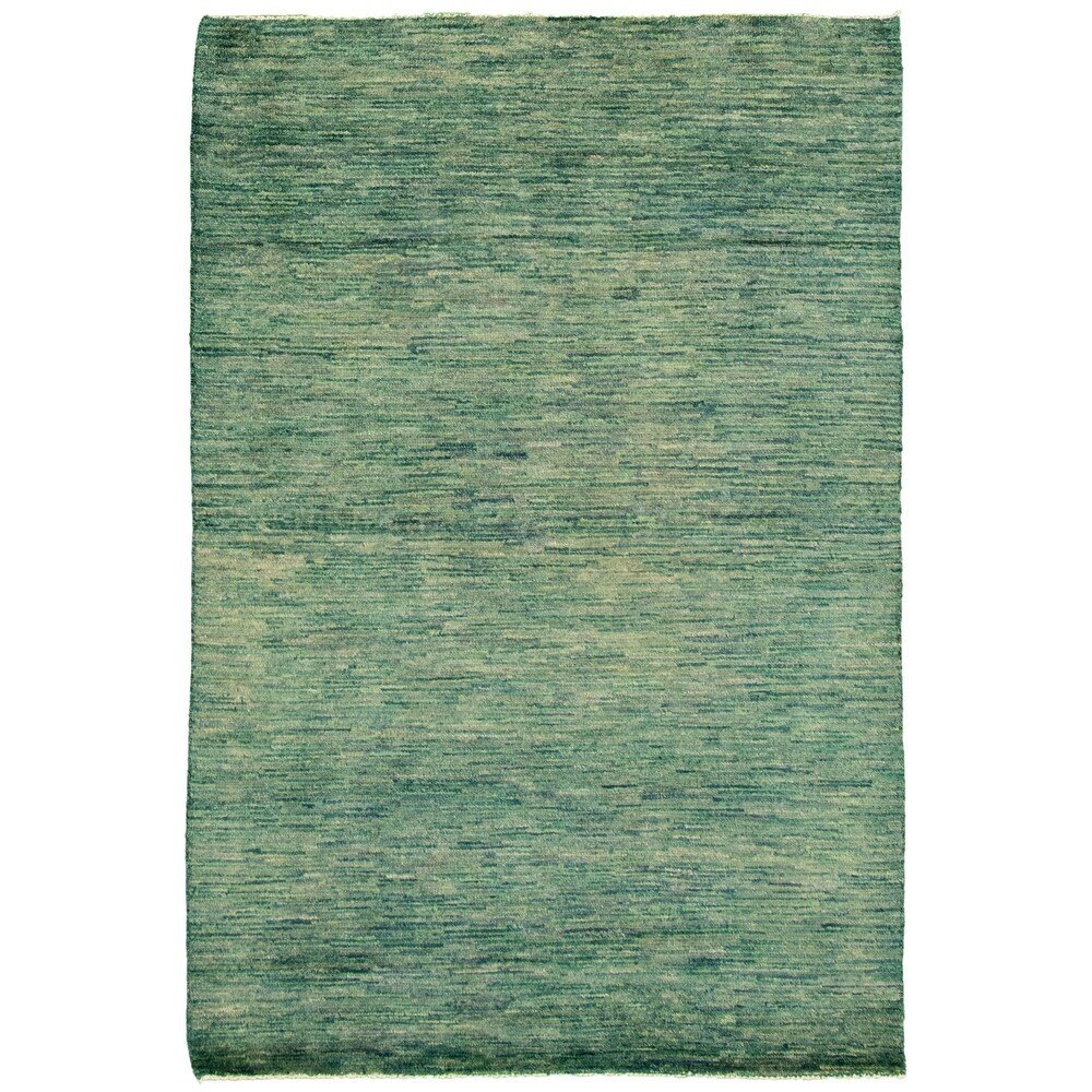 ECARPETGALLERY  Hand-knotted Pak Finest Gabbeh Teal Wool Rug - 4'0 x 6'2 (Teal - 4'0 x 6'2)