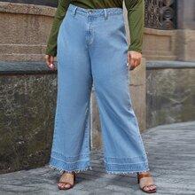 Jeans mit ungesaeumtem Saum und breitem Beinschnitt ohne Guertel