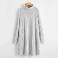 Turtle Neck Rib-knit Dress