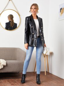 Shawl Collar Double Breasted PU Leather Blazer