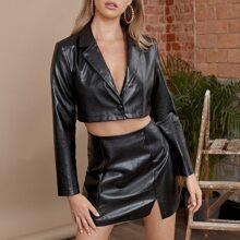 Lapel Collar Crop PU Jacket & Split Hem Skirt Set