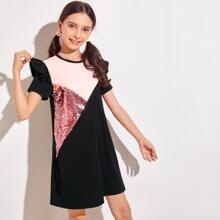 Girls Ruffle Trim Color Block Sequin Tee Dress