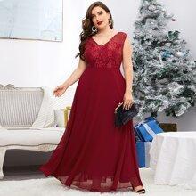 Vestidos Tallas Grandes Encaje en contraste Liso Glamour