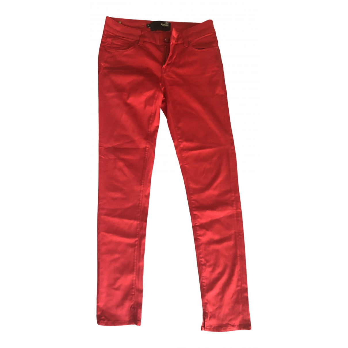 Moschino Love \N Red Cotton Trousers for Women 10 UK