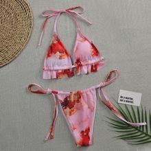 Micro dreieckiger Bikini Badeanzug mit Wasserfarbe und seitlichem Band