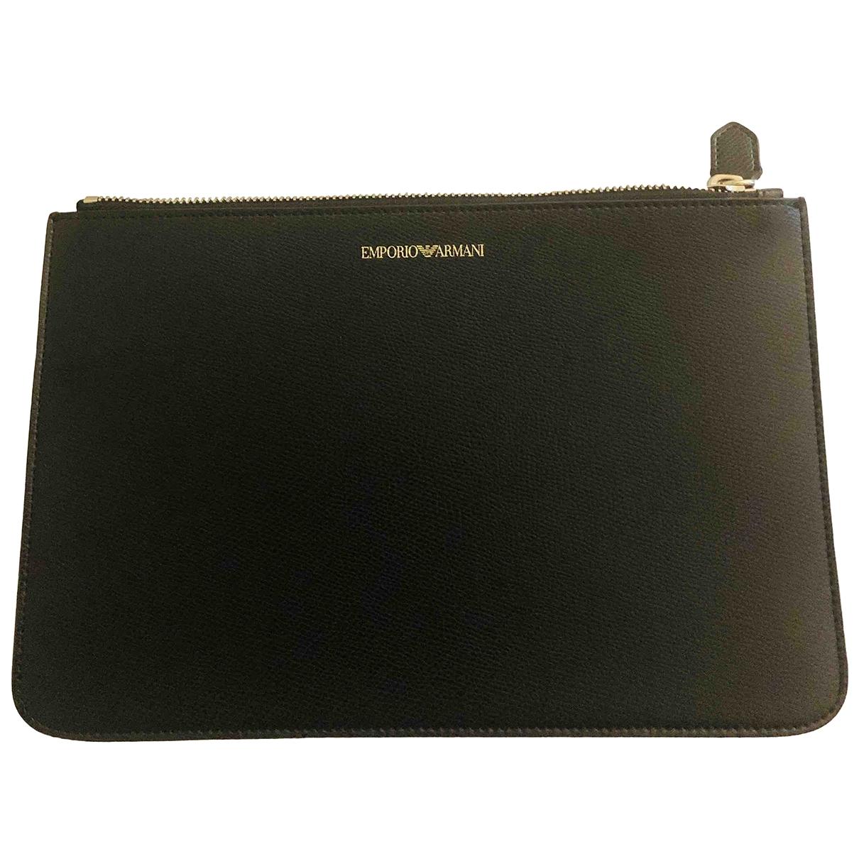 Emporio Armani \N Black Leather Clutch bag for Women \N