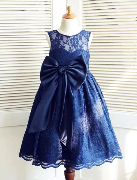 Milanoo Desfile vestido flor chica vestido cinta arco grande ilusion escote hasta el tobillo del niño de encaje