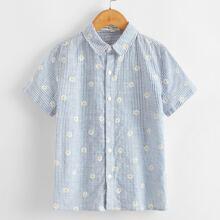 Boys Floral Print Striped Shirt
