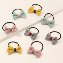 8pcs Toddler Girls Bow Knot Decor Hair Tie