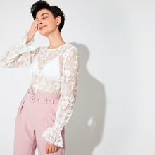 Flounce Sleeve Embroidery Mesh Sheer Top Without Bra