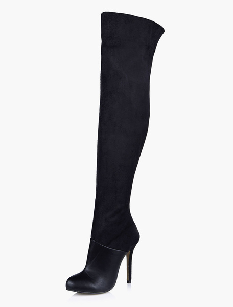 Milanoo Black Thigh High Boots Womens Micro Suede Round Toe Stiletto Heel Winter Boots