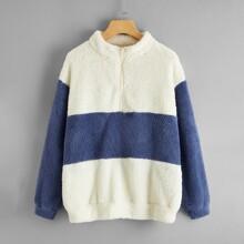 Colorblock Half Zip Oversized Teddy Sweatshirt