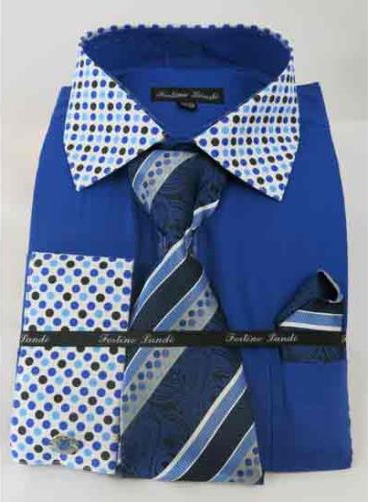 Mens Royal Blue Solid Body With Polka dot Collar French Cuff Shirt